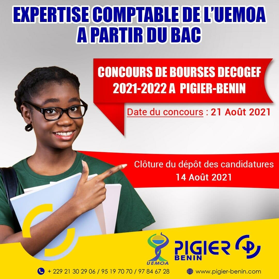 CONSOURS DE BOURSE DECOGEF 2021-2022. CONCOURS DE BOURSE POUR LES NOUVEAUX BACHELIERS AU CURSUS DE L'EXPERTISE COMPTABLE AU BENIN. PIGIER-BENIN